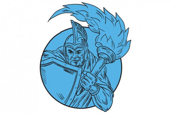 Centurion Soldier Torch Circle Drawing example image 1