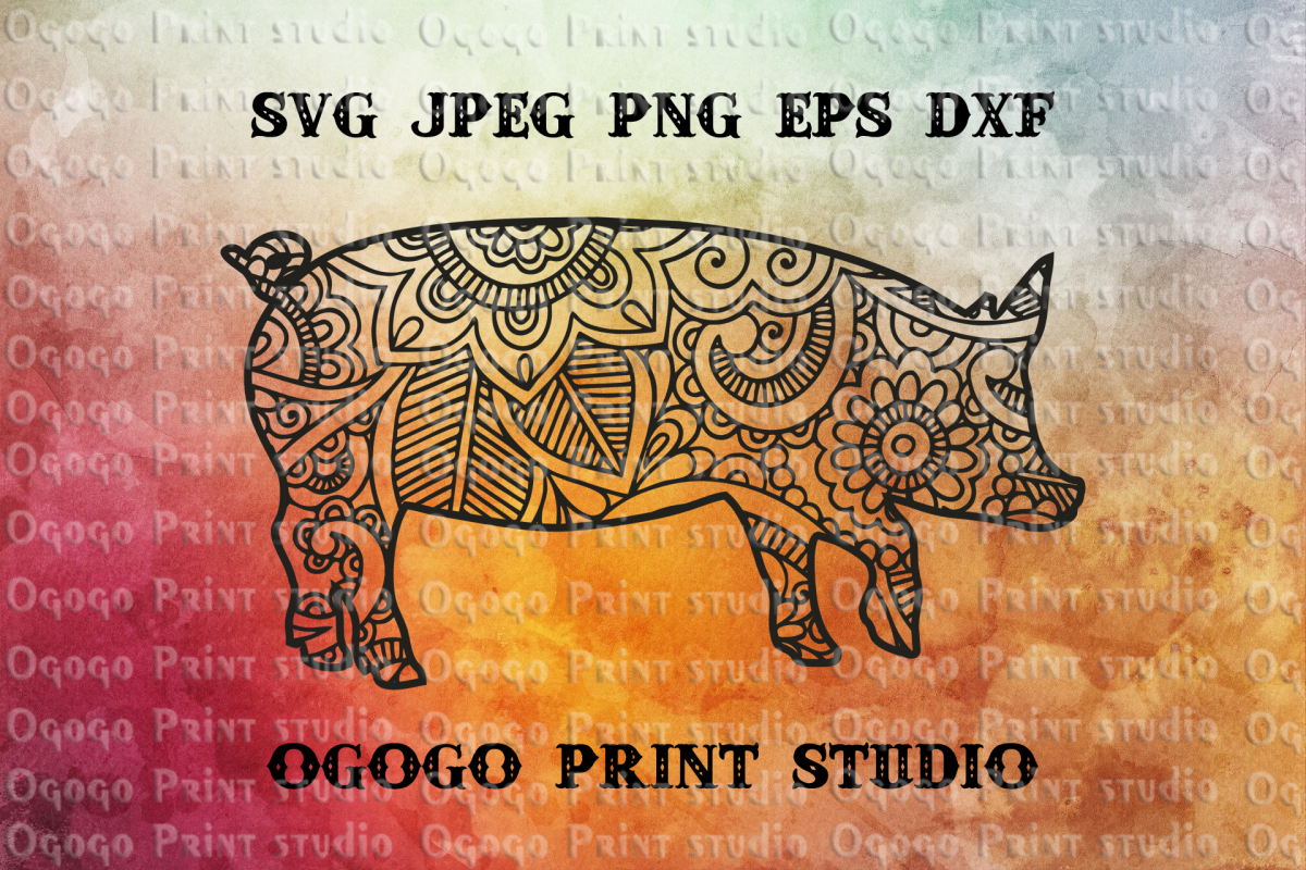 Mandala style Pig Svg, Farm animal, Zentangle SVG, Boho svg, example image 1
