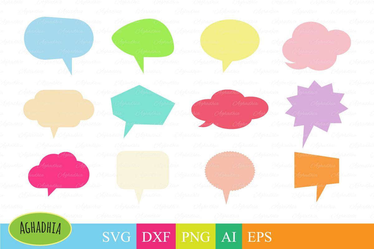 Speech Bubbles, Chat Bubbles, Bubbles Bundle cut file in SVG, DXF, PNG, AI  and EPS