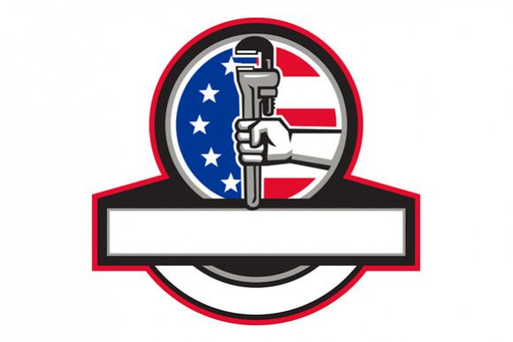 Plumber Hand Holding Pipe Wrench Flag Circle Banner Retro example image 1