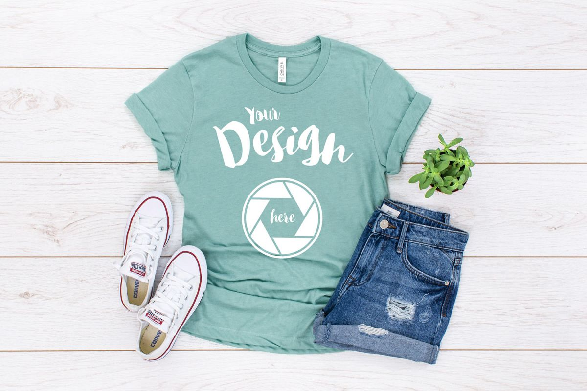 Heather Prism Dusty Canvas 3001 T Shirt Mockup example image 1