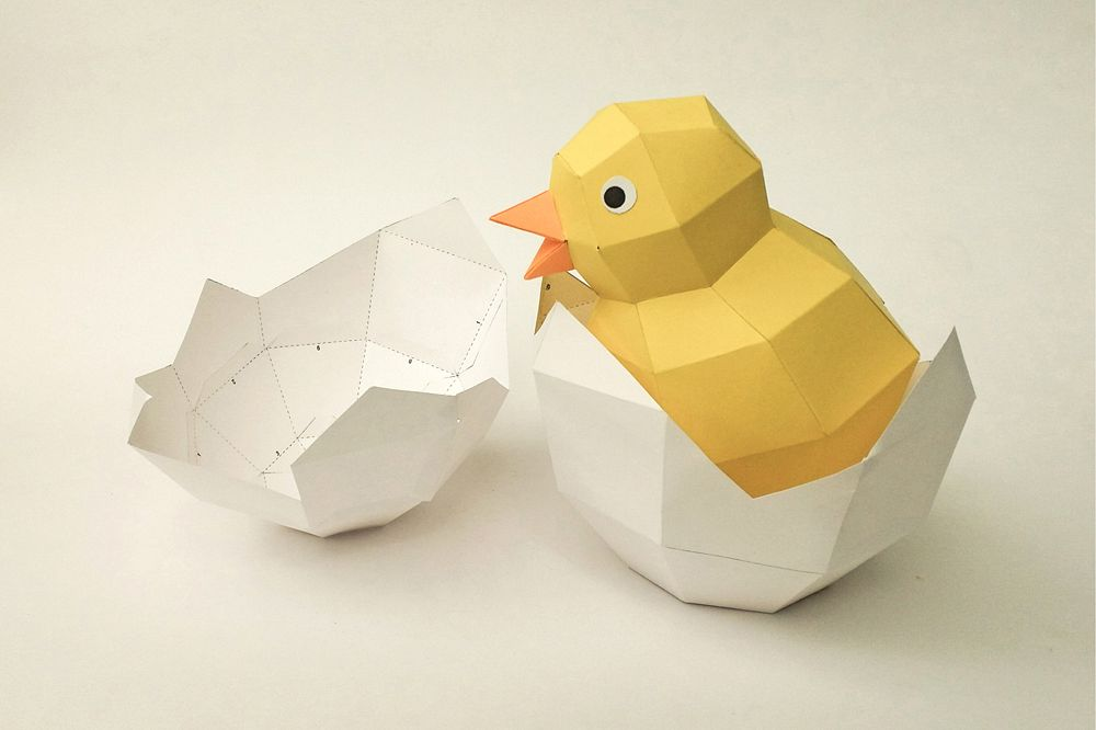 DIY Chick in egg - 3d papercraft example image 1