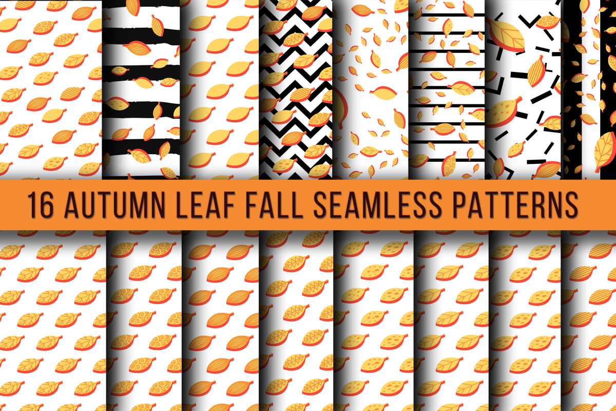 Autumn Leaf Fall Seamless Patterns example image 1