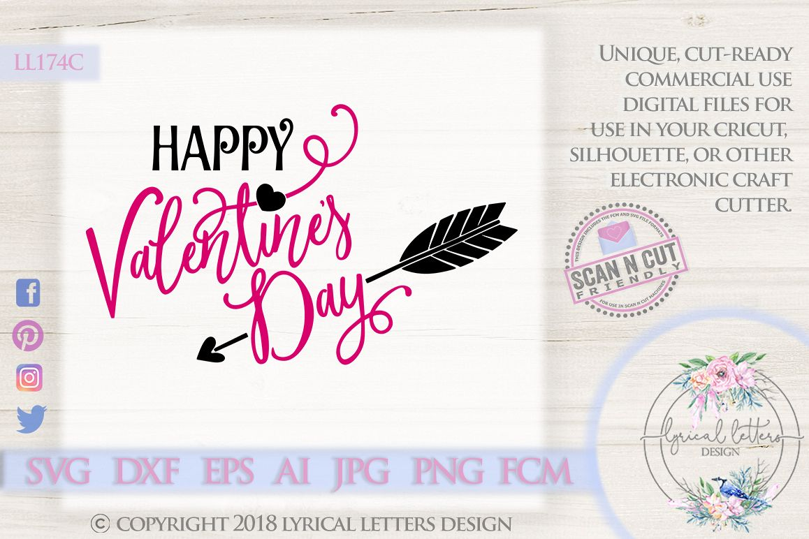 Happy Valentine's Day SVG DXF Cut File LL174C example image 1