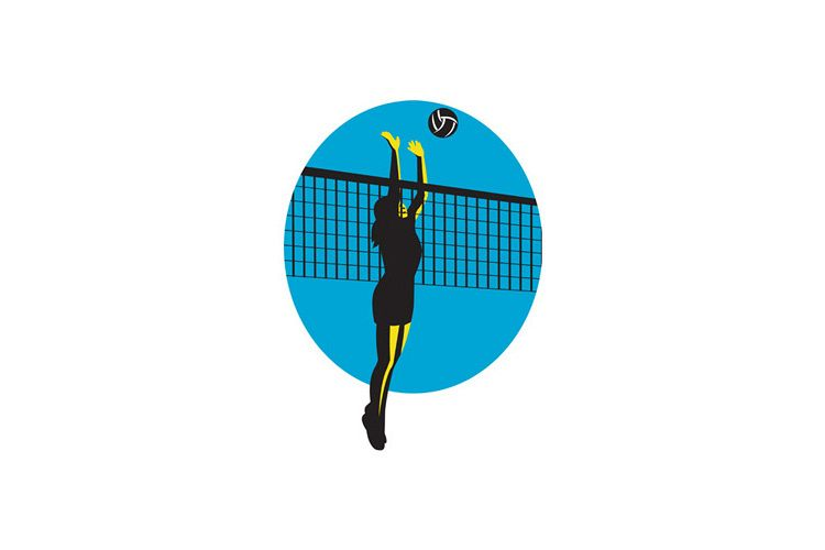 Volleyball Player Spiking Ball Retro example image 1