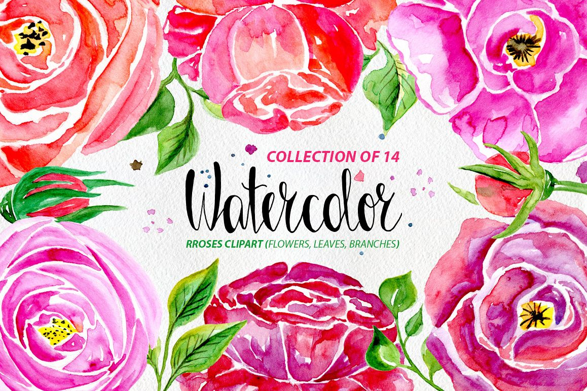 Watercolor flowers, 14 elements example image 1