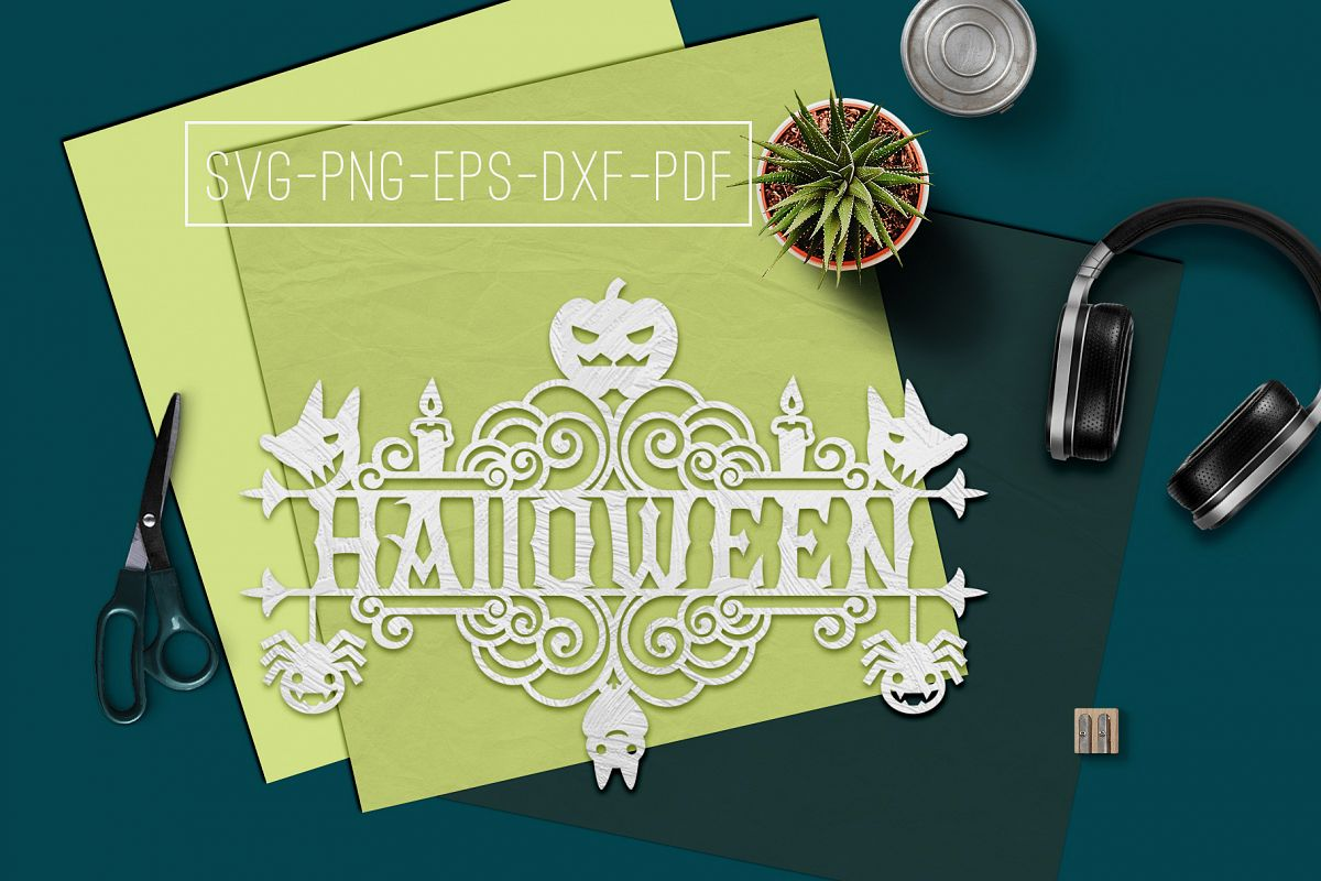 Halloween Sign Design Papercut Template, Spooky SVG, PDF example image 1