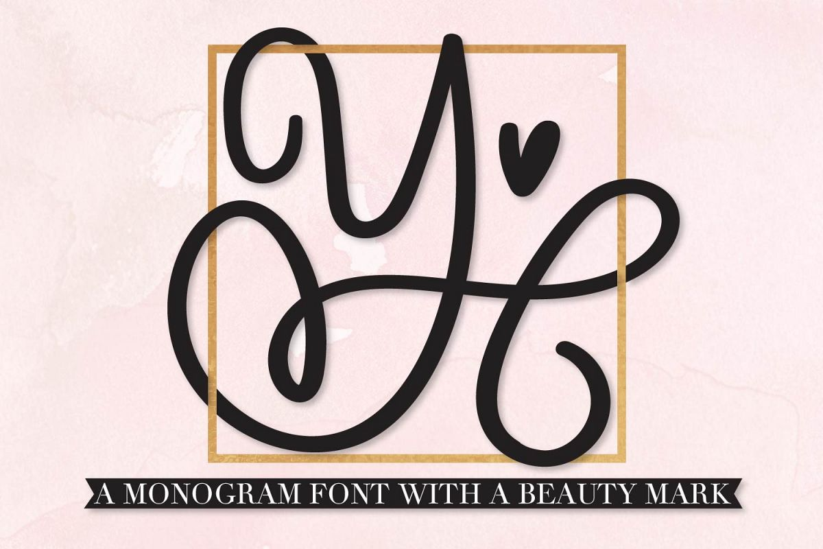 Scripty Monogram Font - With heart accents example image 1