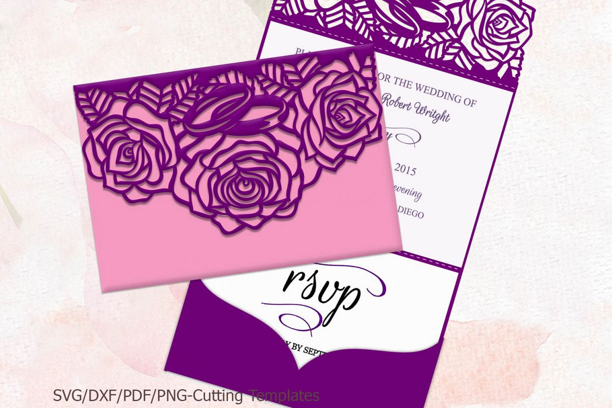 Roses Trifold Wedding Invitation Laser Machine Cut Template Exle Image 1: Cricut Wedding Invitations Lavender At Reisefeber.org
