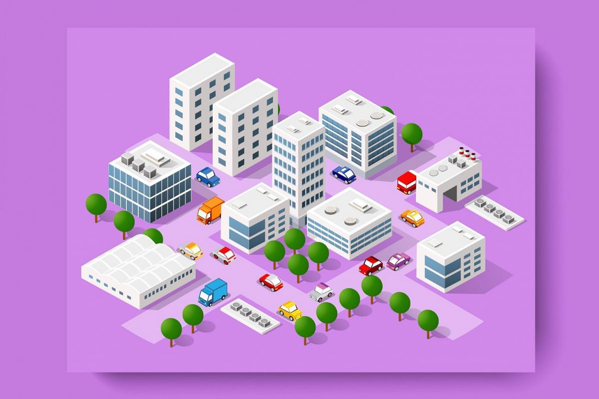 Modern vector 3D city example image 1