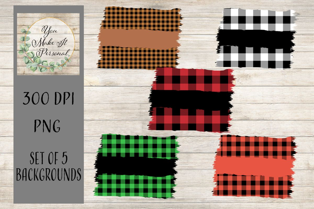 Set of 5, Buffalo Check Backgrounds. Great for Fall! example image 1