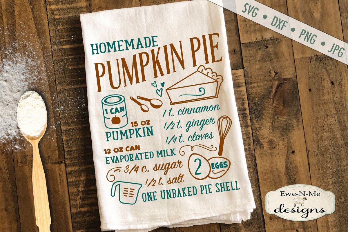 Pumpkin Pie Recipe - Fall - SVG DXF Files example image 1