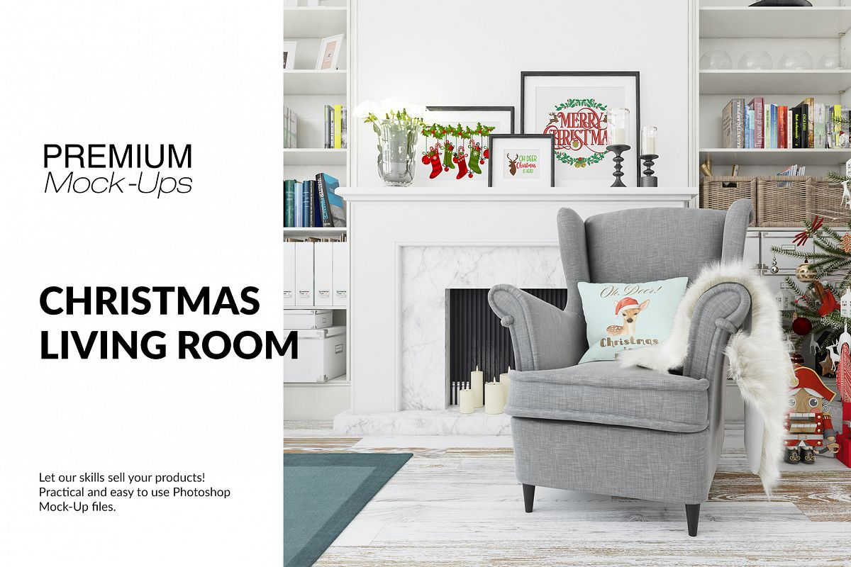 Christmas Living Room - Pillow & Frames Set example image 1