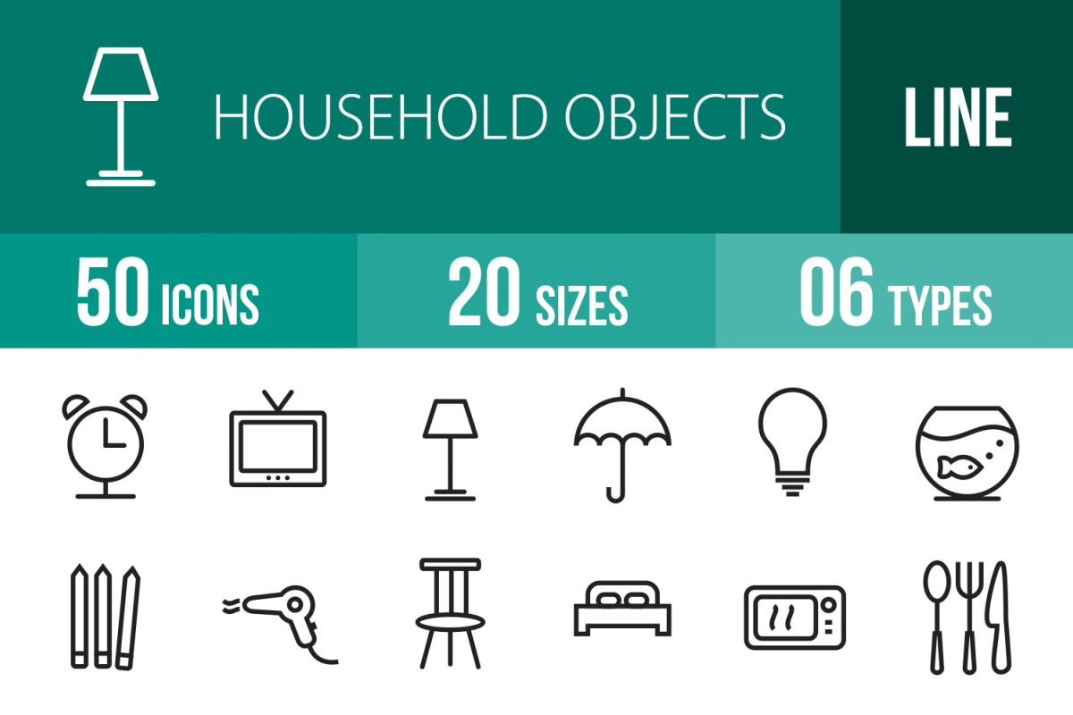 50 Household Objects Line Icons example image 1