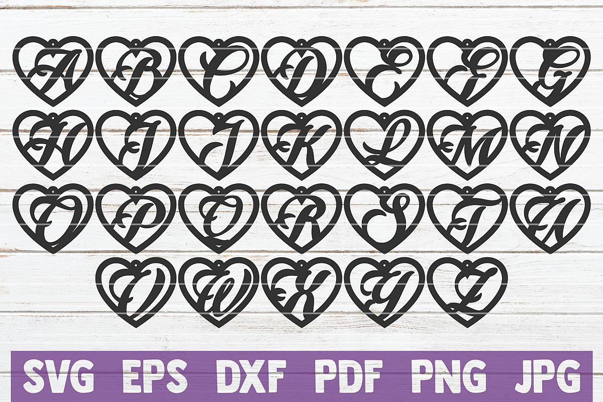 Heart Alphabet Earrings SVG Cut Files example image 1
