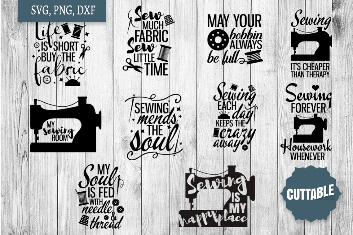Sewing SVG bundle, Sew crafty, sewing quotes cut file bundle example image 1