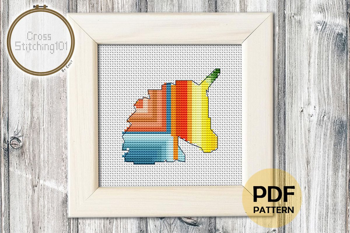 Unicorn Head Design Cross Stitch Pattern - Instant Downlod example image 1