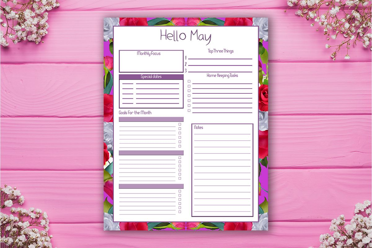 photo regarding Monthly Organizer identify Regular Planner, Hello there May perhaps, Month to month Organizer, SALE