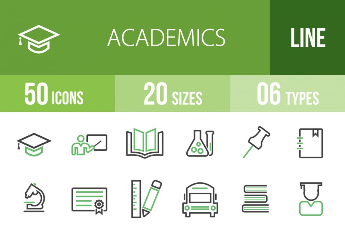 50 Academics Line Green & Black Icons example image 1