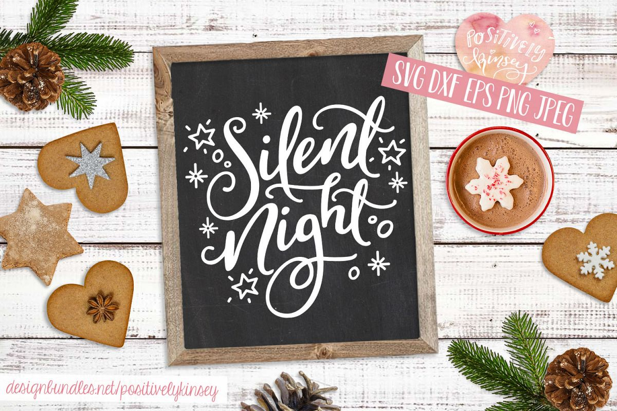 Silent Night SVG DXF PNG EPS, Christmas Song SVG Design example image 1