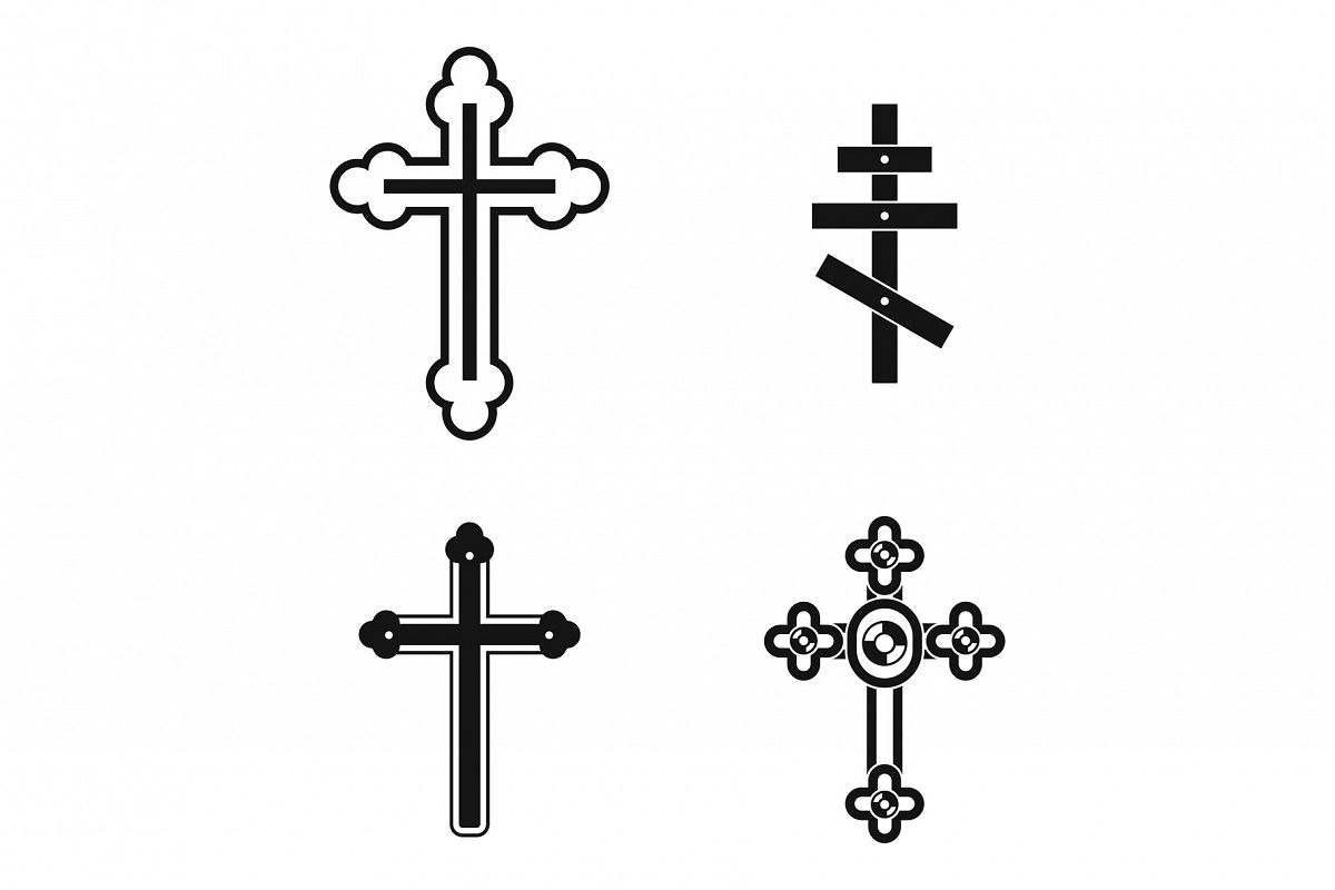 Cross icon set, simple style example image 1