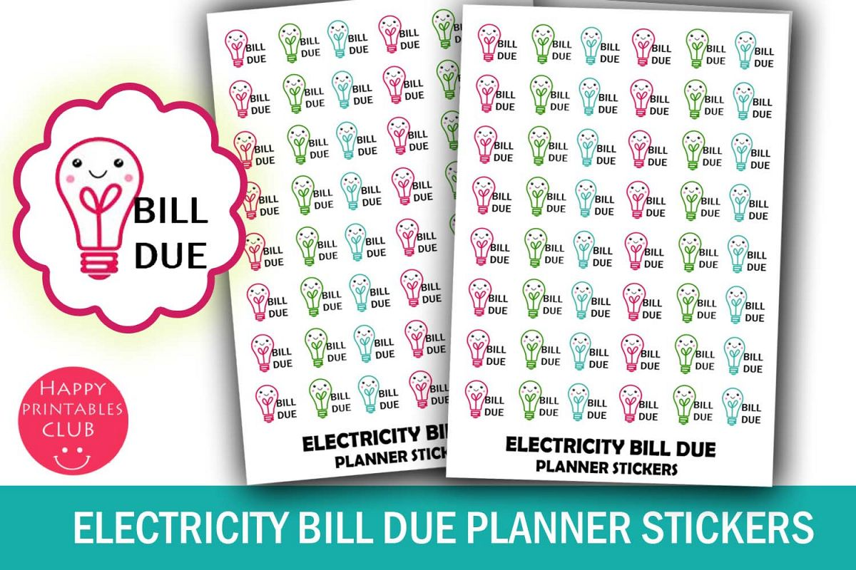 Electricity Bill Due Planner Stickers- Bill Due Stickers example image 1