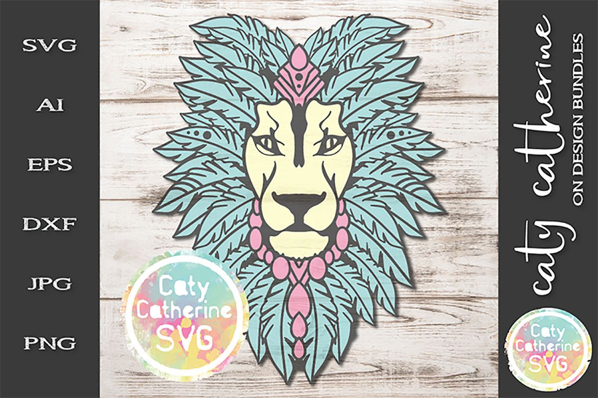 Feather Headdress Lion Head Boho SVG Cut File example image 1