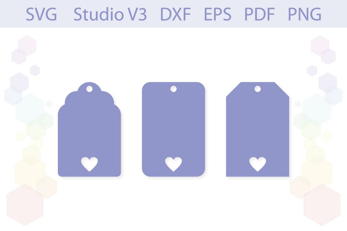 Heart Gift Tag Shapes cut files example image 1