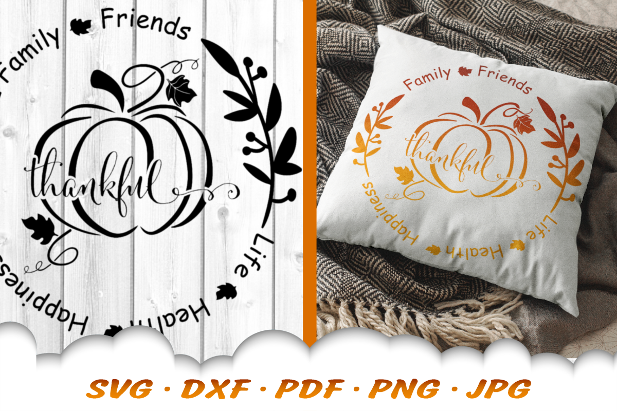 Thankful Fall Pumpkin Sign SVG DXF Cut Files example image 1