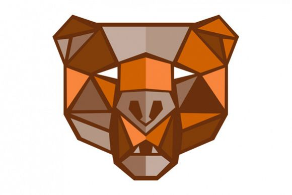 Brown Bear Head Low Polygon example image 1