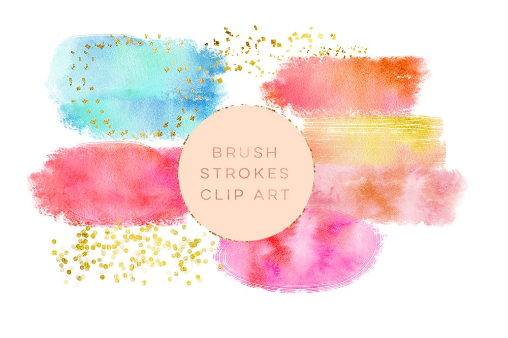 Watercolor Glitter Brushes Stroke, Watercolor Paint Splotch, Digital Watercolor Splotch, pink paint clipart, gold glitter paint clipart example image 1