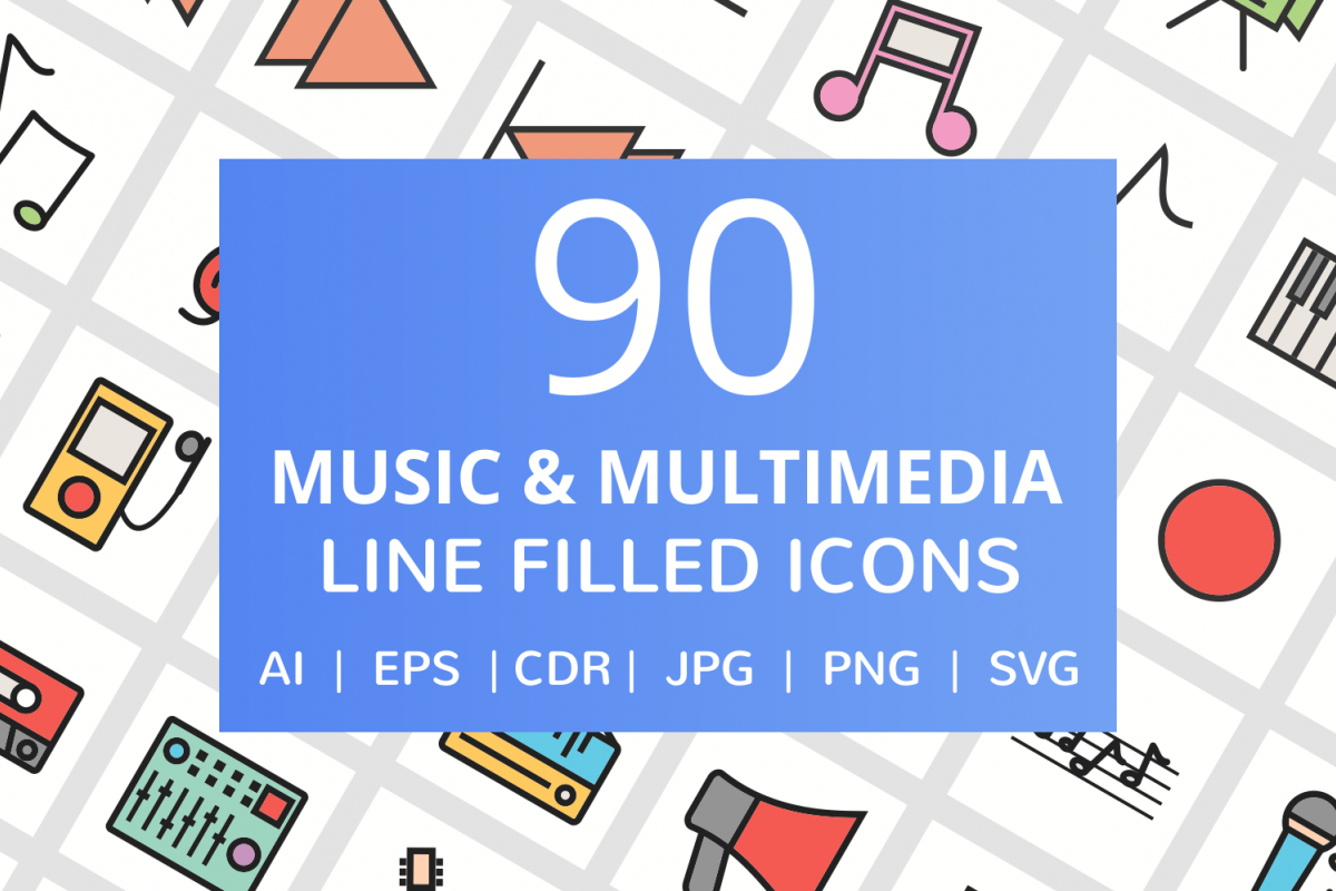 90 Music & Multimedia Filled Line Icons example image 1