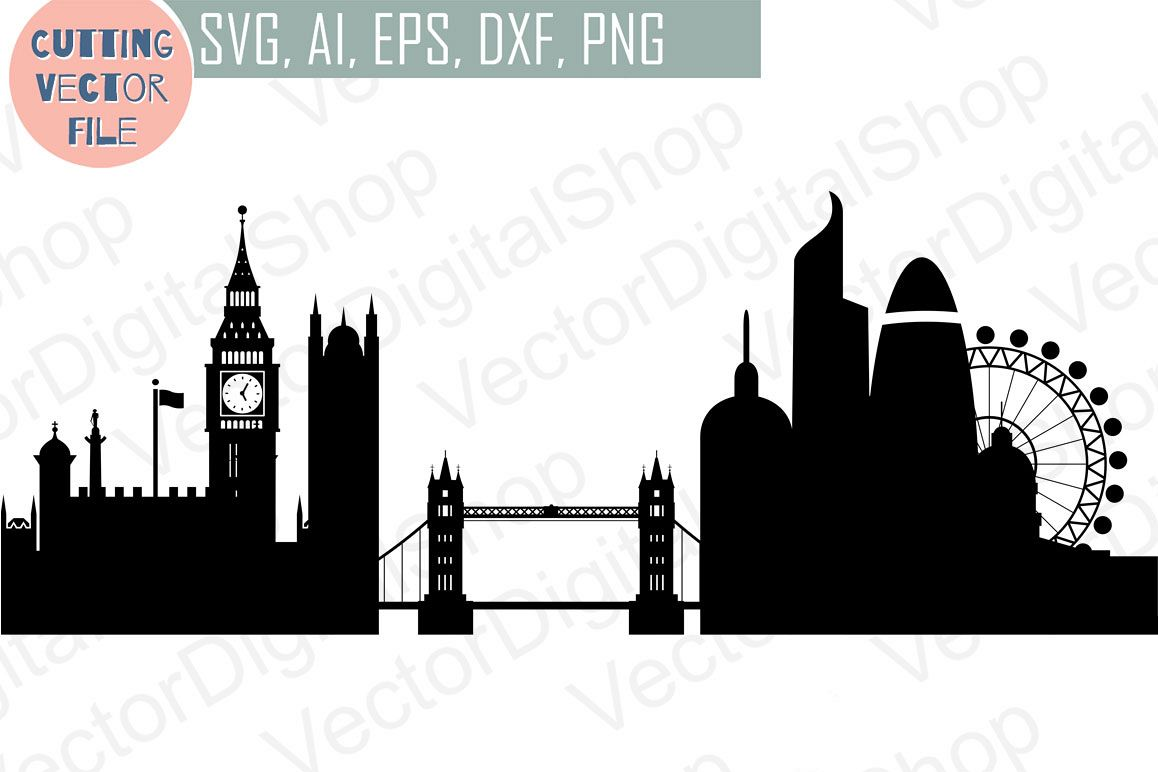 London Skyline Vector England City Svg Jpg Png Dwg