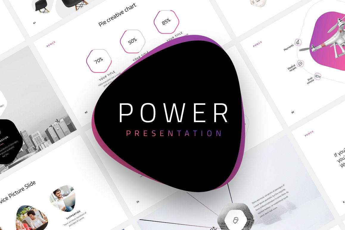 Power-Minimal Powerpoint Template example image 1