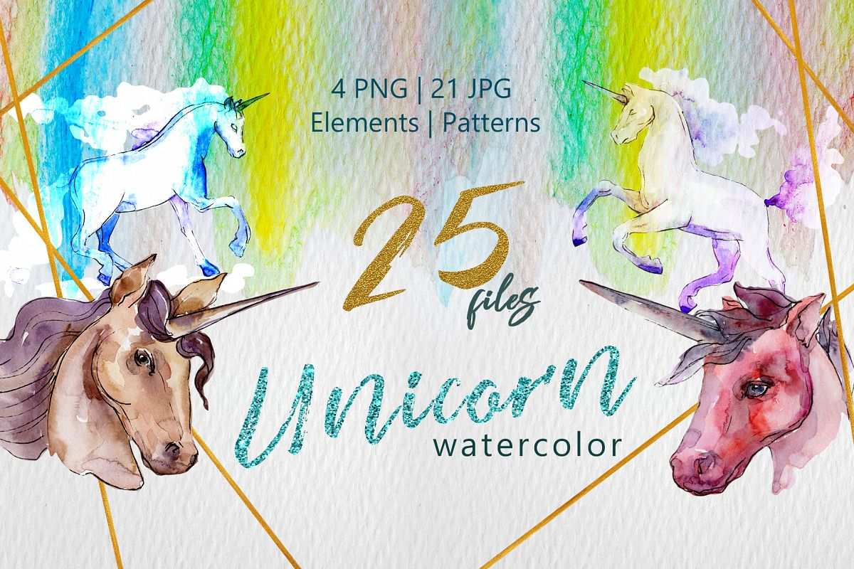 Unicorn Masterpiece Watercolor png example image 1