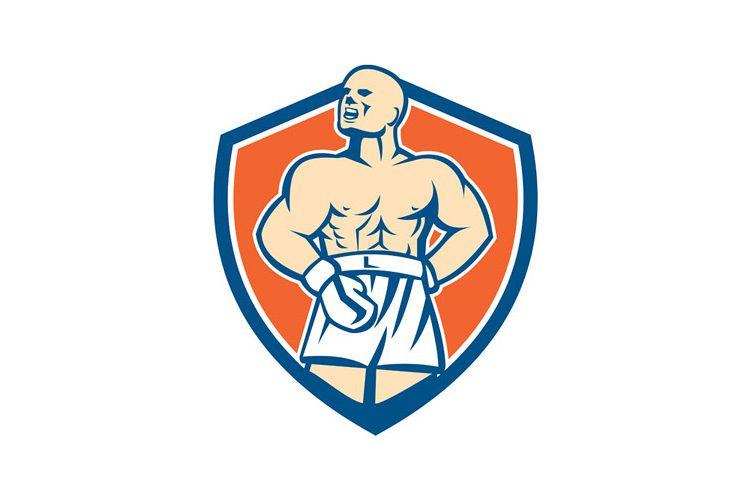 Boxer Champion Shouting Shield Retro example image 1