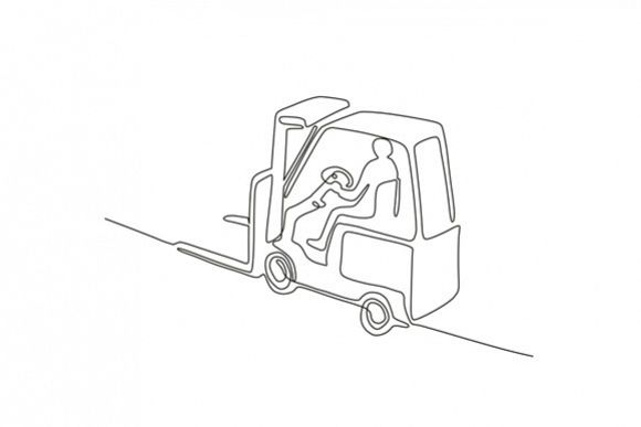 Forklift Truck Continuous Line example image 1