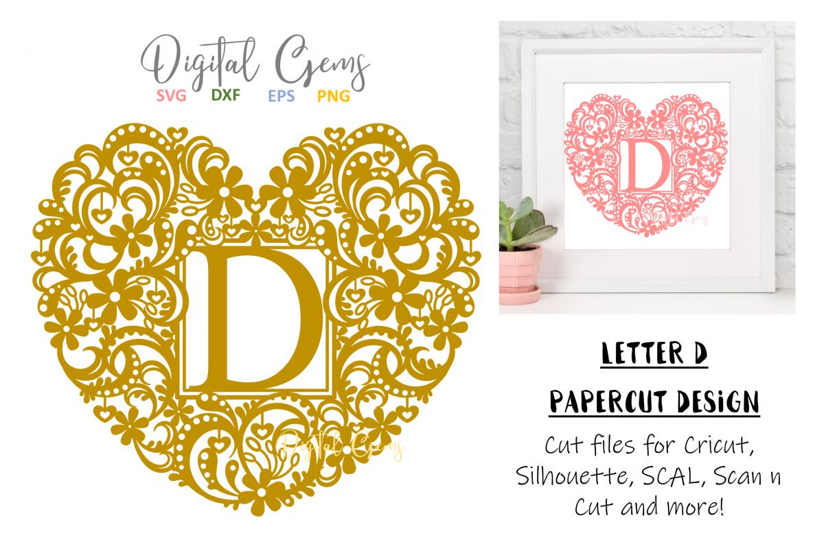Letter D paper cut design. SVG / DXF / EPS / PNG files example image 1