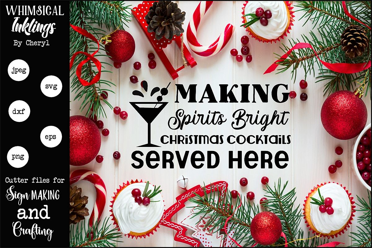 Christmas Cocktails SVG example image 1