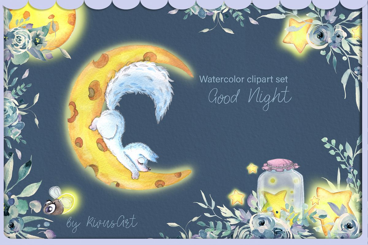 Arctic fox and glowwarm night watercolor clipart kit for bab example image 1