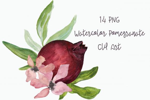 Watercolor Pomegranate Clip Art example image 1