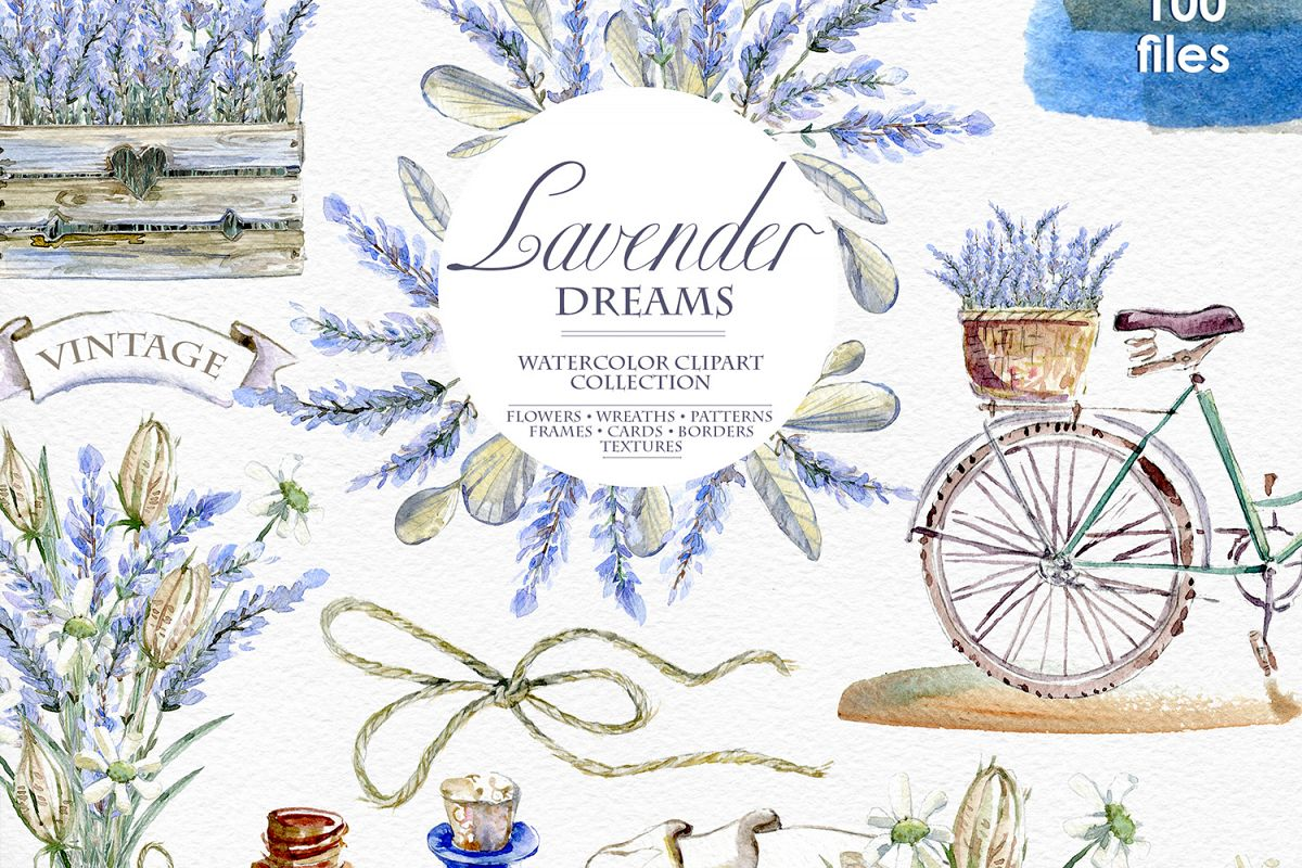 Lavender WATERCOLOR clipart set example image 1