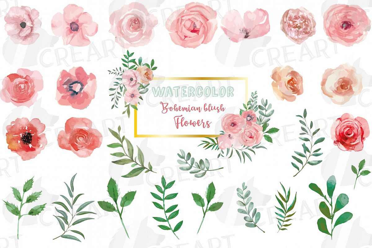 Blush watercolor floral wedding clip art, pink flowers leafs example image 1