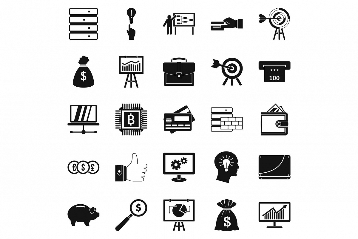 Stockbroker icons set, simple style example image 1