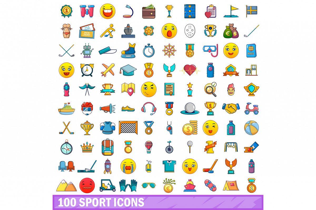 100 sport icons set, cartoon style example image 1