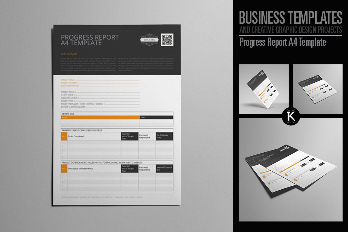 Progress Report A4 Template example image 1