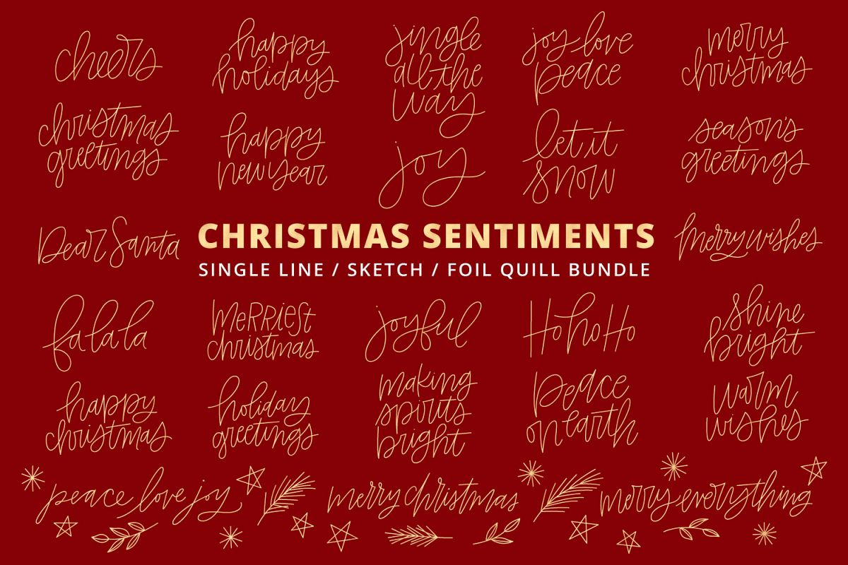 Foil Quill Single Line Sketch Christmas Phrases Bundle example image 1