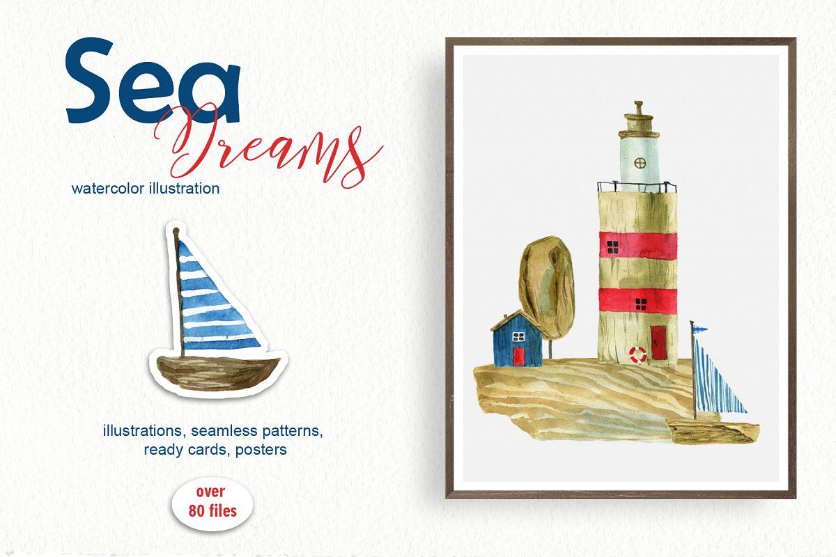 Sea dreams. Watercolor illustration example image 1