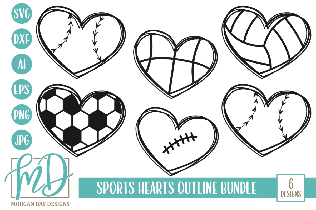 Sports Hearts Outline Bundle SVG, DXF, AI, EPS, PNG, JPEG example image 1