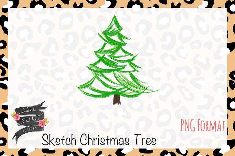 Sketch Christmas Tree Watercolor Hand Drawn